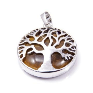 35014-09 FASHION JEWELLERY TREE OF LIFE 27 MM PENDANT WITH STONE IN TIGER'S EYE