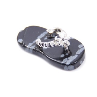 35011-24 SLIPPER SHAPED 23 X 12 MM FASHION JEWELLERY PENDANT WITH SNOWFLAKE OBSIDIAN STONE