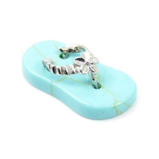 35011-03 SLIPPER SHAPED 23 X 12 MM FASHION JEWELLERY PENDANT WITH TURQUOISE STONE