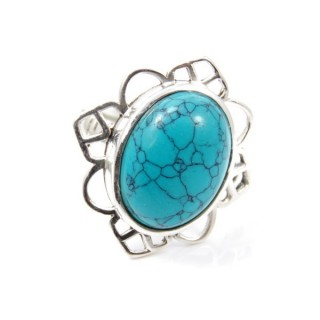 58206-07 ADJUSTABLE SILVER 24 X 23 MM RING WITH STONE IN TURQUOISE