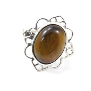 58206-11 ADJUSTABLE SILVER 24 X 23 MM RING WITH STONE IN TIGER'S EYE