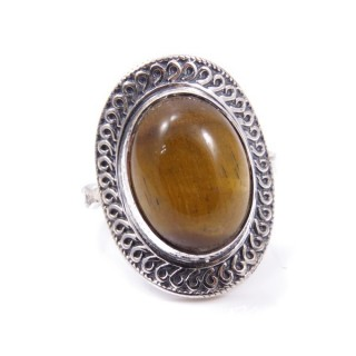 32949-09 ADJUSTABLE SILVER 25 X 18 MM RING WITH STONE IN TIGER'S EYE