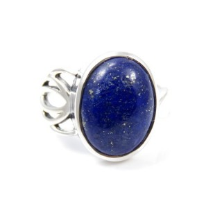 58209-02 ADJUSTABLE SILVER 18 X 14 MM RING WITH STONE IN LAPIS LAZULI