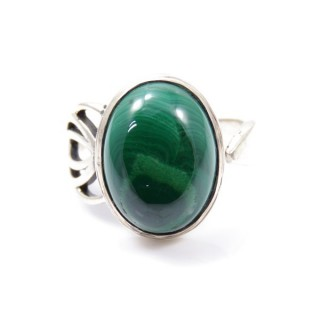 58209-10 ADJUSTABLE SILVER 18 X 14 MM RING WITH STONE IN MALACHITE