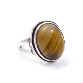 58211-11 ADJUSTABLE SILVER 19 X 15 MM RING WITH STONE IN TIGER'S EYE