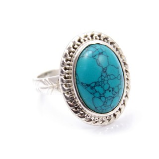 58213-07 ADJUSTABLE SILVER 22 X 17 MM RING WITH STONE IN TURQUOISE