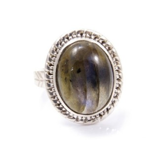 58213-08 ADJUSTABLE SILVER 22 X 17 MM RING WITH STONE IN LABRADORITE