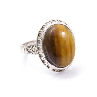 32955-09 ADJUSTABLE SILVER 20 X 16 MM RING WITH STONE IN TIGER'S EYE