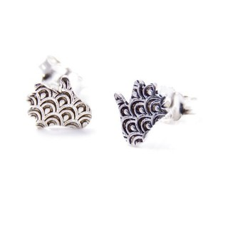 34169 HAMSA SHAPED STERLING SILVER 9 X 8 MM EARRINGS