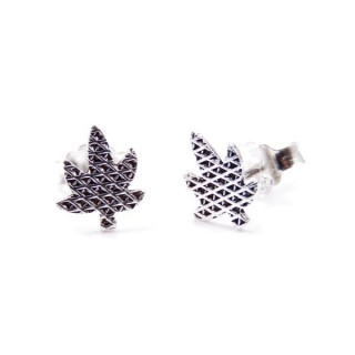 34183 LEAF SHAPED 9 X 7 MM STERLING SILVER EARRINGS
