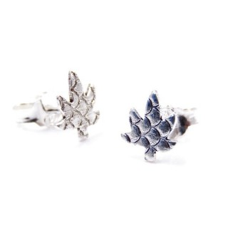 34199 LEAF SHAPED STERLING SILVER EARRINGS 9 X 7 MM