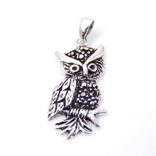 34274 STERLING SILVER 26 X 13 MM OWL SHAPED PENDANT