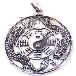 34222 COLGANTE PLATA DE LEY CON YIN & YANG Y DRAGON 39 MM