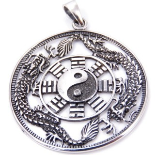 50025 STERLING SILVER DRAGON AND YIN & YANG 39 MM PENDANT