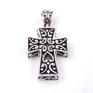 34221 CROSS SHAPED STERLING SILVER 33 X 18 MM PENDANT