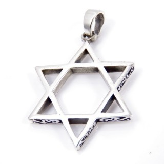 34218 STAR OF DAVID SHAPED STERLING SILVER 30 MM PENDANT