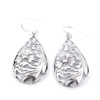 34361 SILVER TEAR DROP 20 X 32 MM FISH HOOK EARRINGS