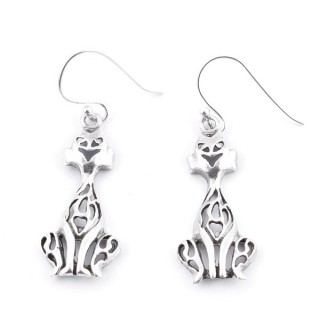 34363 SILVER CAT 13 X 27 MM FISH HOOK EARRINGS