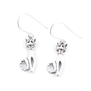 34371 SILVER CAT SHAPE  9 X 21 MM FISH HOOK EARRINGS