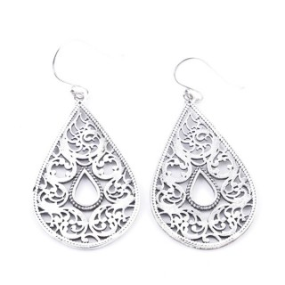 34368 SILVER TEAR DROP 21 X 31 MM FISH HOOK EARRINGS