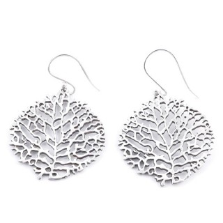 34366 SILVER LEAF SHAPE 27 X 27 MM FISH HOOK EARRINGS