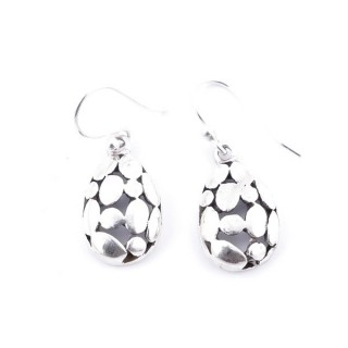 34375 TEARDROP SHAPED CUTWORK STERLING SILVER 18 X 10 MM EARRINGS