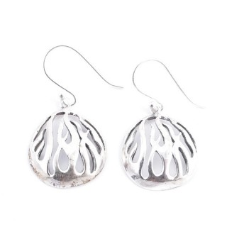 34377 ROUND SHAPED CUTWORK STERLING SILVER 18 MM EARRINGS