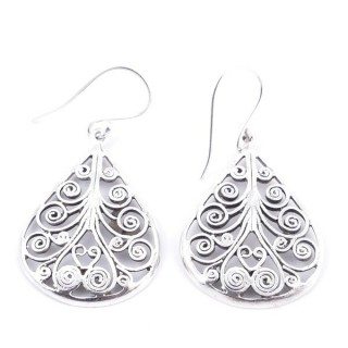 34378 TEARDROP SHAPED CUTWORK STERLING SILVER 28 X 21 MM EARRINGS