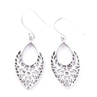 34381 DIAMOND SHAPED CUTWORK STERLING SILVER 33 X 15 MM EARRINGS