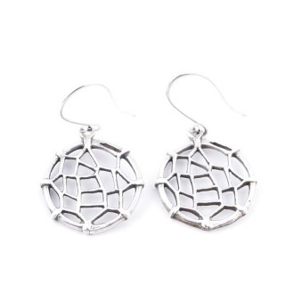 34383 ROUND SHAPED CUTWORK STERLING SILVER 17 MM EARRINGS
