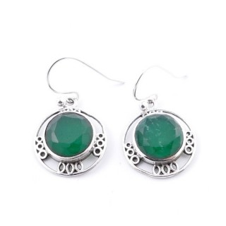 34385-11 STERLING SILVER 15 MM EARRING WITH NATURAL STONE IN FACETED EMERALD
