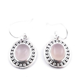 34392-07 STERLING SILVER 16 X 15 MM EARRINGS WITH NATURAL STONE IN ROSE QUARTZ