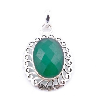 34399-08 SILVER 925 33 X 22 MM PENDANT WITH STONE IN FACETED EMERALD