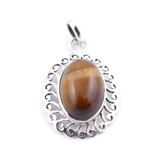 34399-10 SILVER 925 33 X 22 MM PENDANT WITH STONE IN TIGER'S EYE