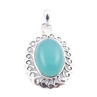 34399-12 SILVER 925 33 X 22 MM PENDANT WITH STONE IN CALCEDONIA