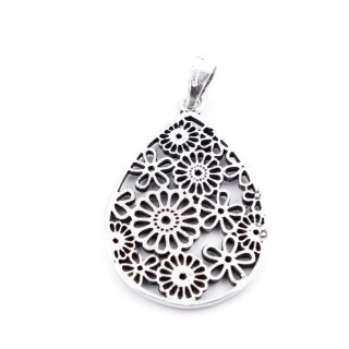 35337 STERLING SILVER DROP SHAPED PENDANTS WITH CUTWORK 30 X 20 MM