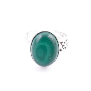 32937-05 ADJUSTABLE SILVER RING WITH MALACHITE 12 X 16 MM