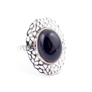 32938-10 ADJUSTABLE 12 X 17 MM SILVER RING WITH ONYX