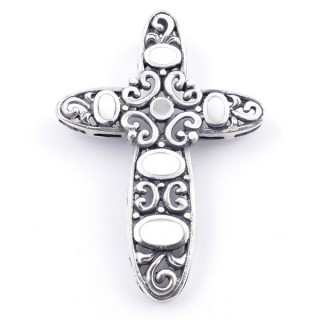 34537 ELECTROFORMING SILVER 925 CROSS SHAPED 45 X 32 MM PENDANT