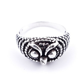 34512-19 STERLING SOLID OWL 10 MM SILVER RING SIZED 19