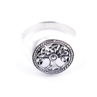 50032-19 STERLING SOLID TREE OF LIFE 13 MM SILVER RING SIZED 19