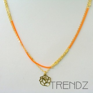 19470-4 METAL GOLDEN AND FLUORESCENT COLOURED NECKLACE