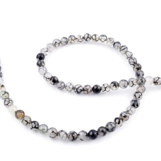 43754-01 STRING OF 62 BEADS OF 6 MM NATURAL AGATE STONE
