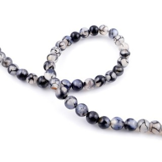 43755-01 STRING OF 46 BEADS OF 8 MM NATURAL AGATE STONE