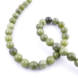 43006 STRING OF 36 BEADS OF 10 MM NATURAL VIETNAMESE JADE STONE