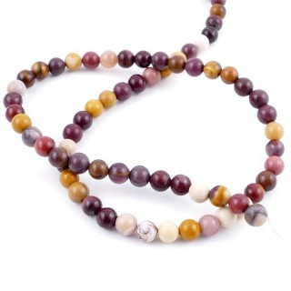 42354 STRING OF 62 BEADS OF 6 MM NATURAL MOOKAITE STONE
