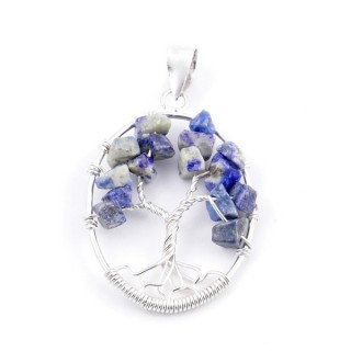 34559-01 SILVER TREE OF LIFE 32 X 24 MM PENDANT WITH STONES IN SODALITE