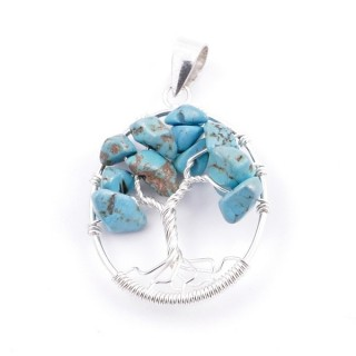 34559-03 SILVER TREE OF LIFE 32 X 24 MM PENDANT WITH STONES IN TURQUOISE