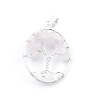 34559-05 SILVER TREE OF LIFE 32 X 24 MM PENDANT WITH STONES IN ROSE QUARTZ