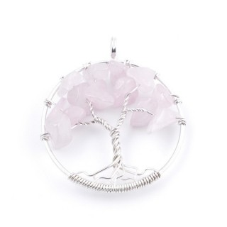 34557-02 SILVER TREE OF LIFE 33 MM PENDANT WITH STONES IN ROSE QUARTZ